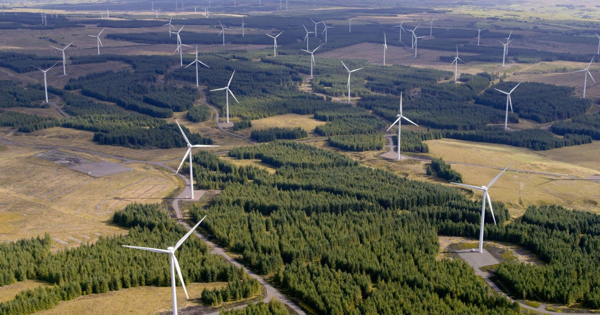 Whitelee Wind Farm on Eaglesham Moor, to the south of East Kilbride, is currently the UK's largest onshore wind Farm.