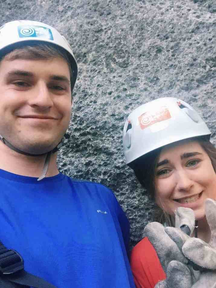A terrified selfie waiting in line for the first zip wire. You can't go to Slovenia without ziplining with Aktivni Planet in Europe's biggest zipline park. Ziplining in Slovenia is unlike anything else.