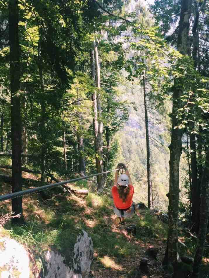 Me beginning the zipline course into the trees. You can't go to Slovenia without ziplining with Aktivni Planet in Europe's biggest zipline park. Ziplining in Slovenia is unlike anything else.