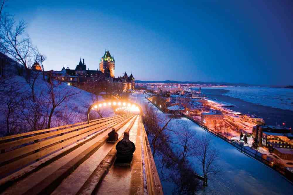 Each winter, Quebec City opens its famous toboggan for rides.