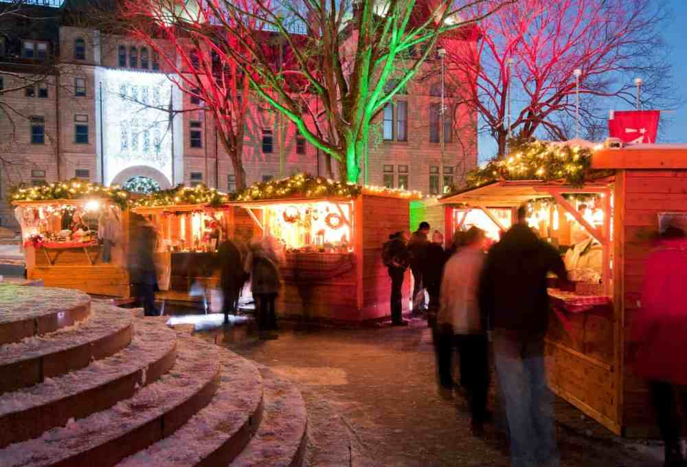 The festive German Christmas Market in Quebec City in full swing.