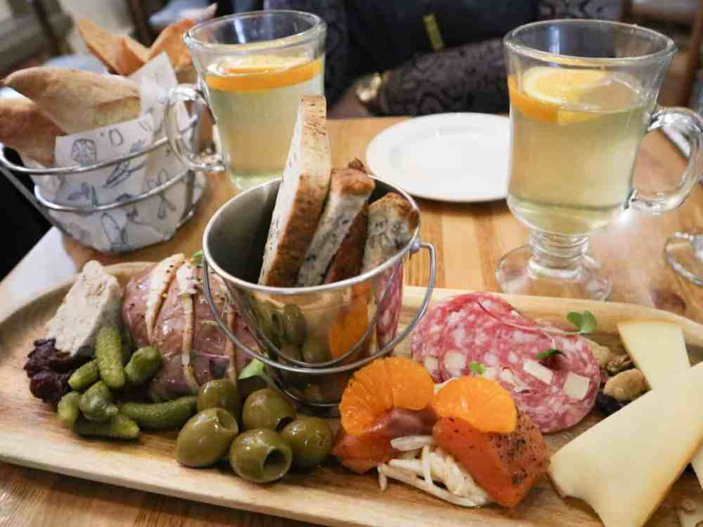 The 'Quebec Discoveries' platter, served with gluten free bread, at Le Lapin Saute in Quebec City.