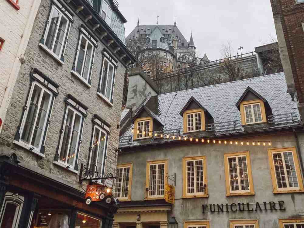 The Quebec City funicular is only $3 and well worth a ride to avoid the steep steps.