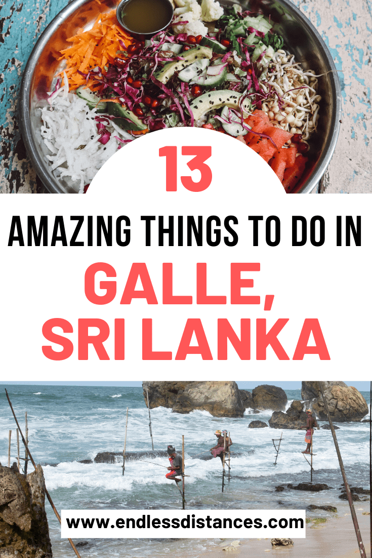 A complete guide to places to visit in Galle, Sri Lanka. Includes 13 amazing things to do in Galle from stilt fishing, bike tours, restaurants, and more. #gallesrilanka #thingstodoingalle #thingstodoingallesrilanka