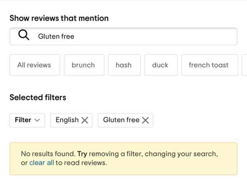 Tripadvisor search for gluten free