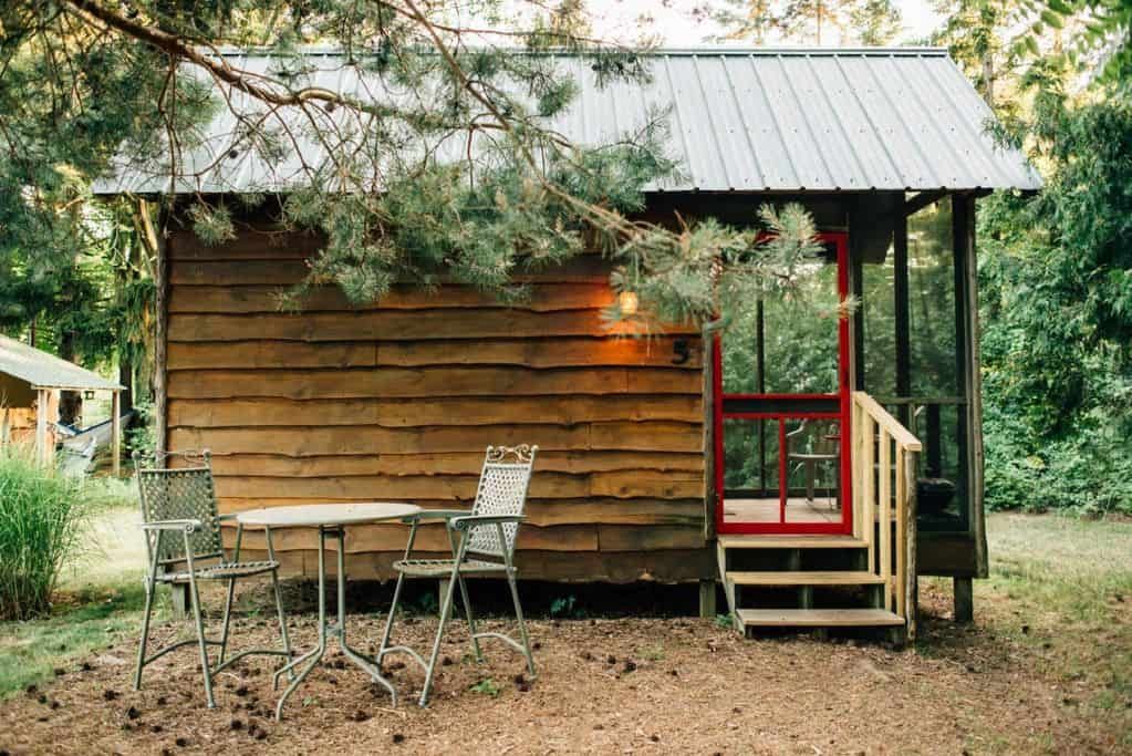 A small wooden cabin with a pine tree
