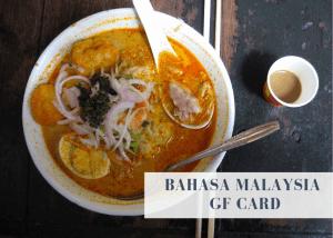 Bahasa Malaysian gluten free travel card