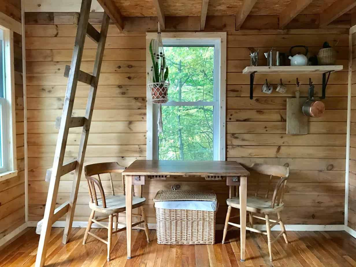 Wooden interior of a tiny house in Michigan.