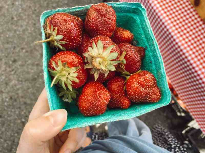 Fresh summer strawberries at Sara Hardy Farmers Market in Traverse City.
