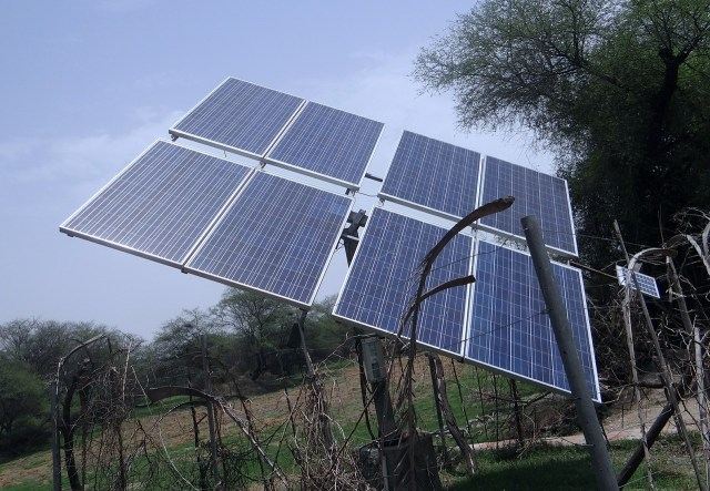 Solar panels supply converted electricty to Off Grid Batteries