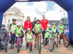 Chris Hoy Joanna Rowsell-Shand, Ryan Owens HSBC UK City Ride Birmingham - photo British Cycling