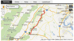 Blue Ridge Parkway Cycling Camp Day One Map