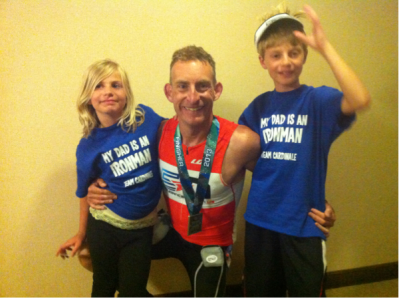 Mark Cardinale with his kids after Coeur d'Alene 2013 - Team Endurance Nation