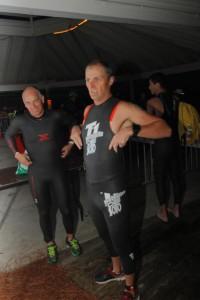 Jaime Fields adjusts his wetsuit at Florida 2013