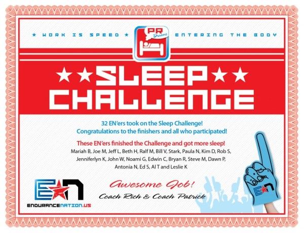 Endurance Nation January 2014 Sleep Challenge Certificate