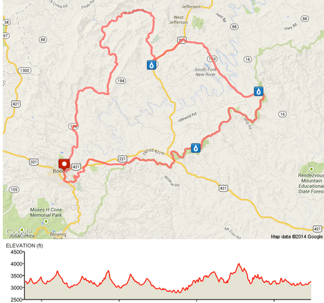 74-Miler BRB Route