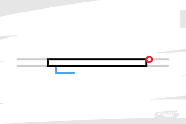 Vue de dessus, une porte se compose d'un battant (en noir), d'une poignée (en bleu), de gonds (en rouge) et d'un cadre (en gris).