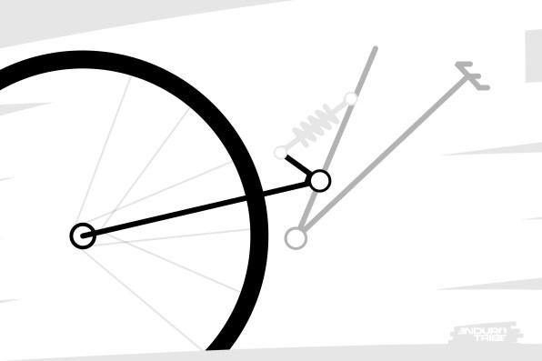 Prenons le cas simple du mono-pivot. Cas le plus facile pour bien saisir ce qui suit. Et isolons l'ensemble roue arrière / cassette + bras. Pour simplifier la rédaction, appelons cet ensemble le bras arrière.