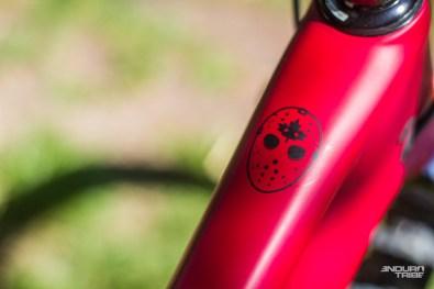 La décoration n'abuse pas d'élément graphique intempestif. Mais certains, dont le premier en vue au moment d'enfourcher le vélo, annoncent la couleur.