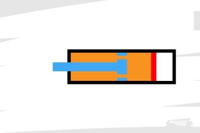 Ce dispositif permet decompenser la variation de volume, et autoriser le fonctionnement de l'amortisseur. Quand la tige avance dans la chambre, l'huile presse sur le piston, qui lui-même influe sur le volume et la pression du gaz...