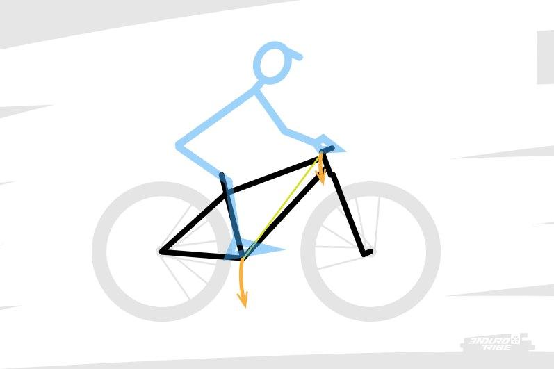 On l'a vu en définissant reach et stack, ils participent à définir le segment qui relie les appuis du pilotes (cintre et pédalier) sur le vélo.