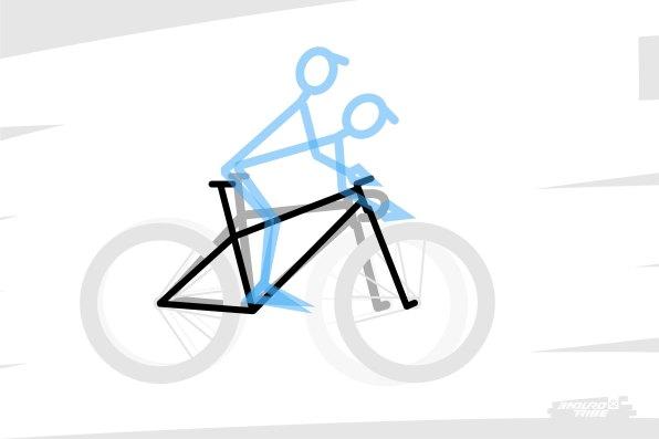 """De ce point de vue, les vélos d'Enduro ont une particularité : par rapport aux vélos traditionnels, le cintre est nécessairement plus haut que sur un vélo de XC ou de route. Il nous faut affronter la pente et avoir le débattement de suspension avant nécessaire pour """"lisser"""" le sol qui nous attend. La position y est donc déjà naturellement moins couchée."""
