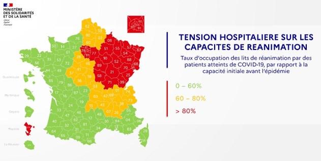La seconde carte qui nous intéresse, sur trois niveaux, indique la situation de tension des services de réanimation hospitaliers.
