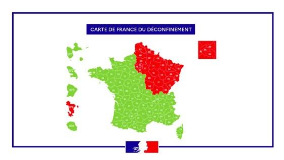 Cette première carte, selon deux niveaux de couleur, indique les zones où le virus circule encore activement et où des précautions particulières doivent êtres prises. Il s'agit des 4 régions de d'Ile de France, Des Haut de France, De Bourgogne Franche-Comté et du Grand Est.