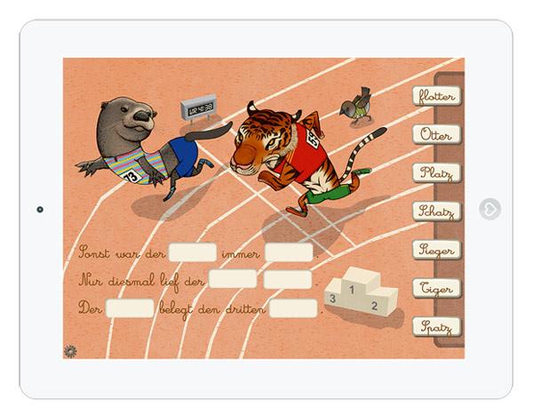 Bilderbuch App mit Lückentext