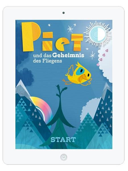 Kinderbuch-App mit süßem Vogel Piet– Titel