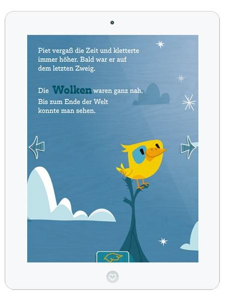 Kinderbuch-App mit süßem Vogel Piet– interaktive App