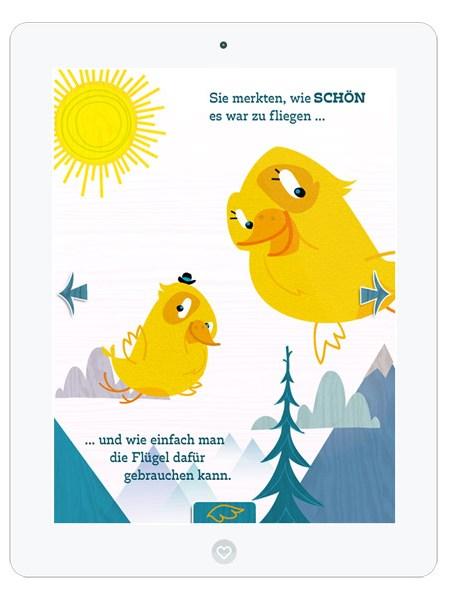 Kinderbuch-App mit süßem Vogel Piet– schöne Illustrationen