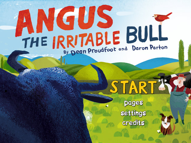 Englische Kinderbuch App über einen grimmigen Stier