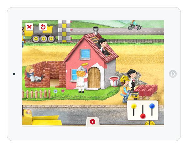interaktive Wimmelbuch App über Baustelle