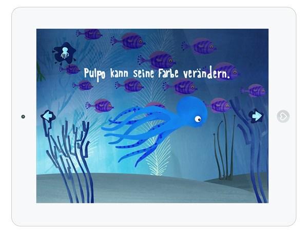 interaktives Bilderbuch über einen Tintenfisch