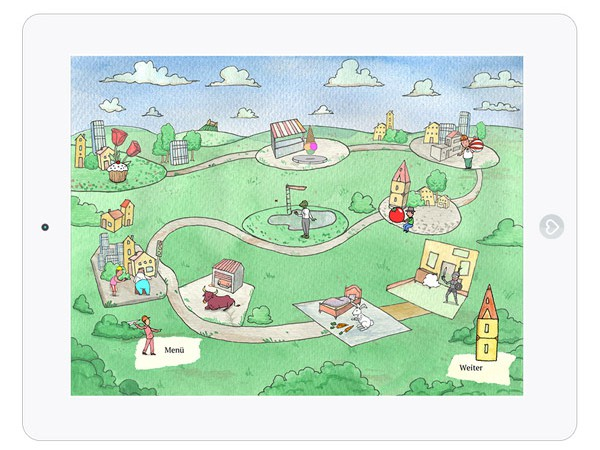 Schöne Kinderbuch App über Fantasie mit Wimmelbildern