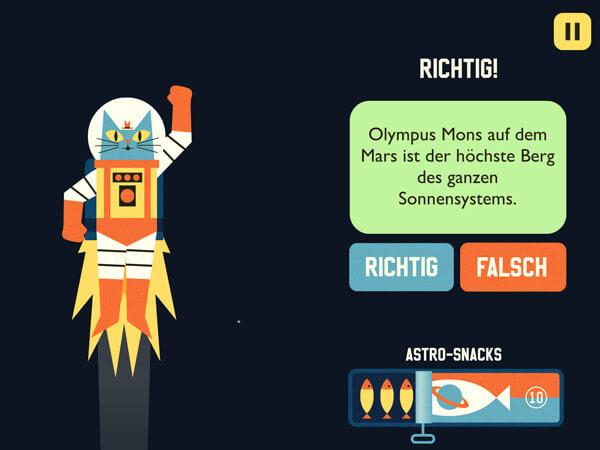 Lern App für ältere Kinder über das Weltall
