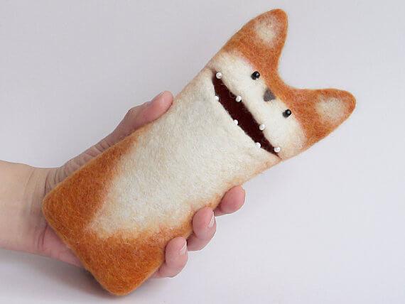Handgemachte Tablet Hülle aus Filz – Fuchs