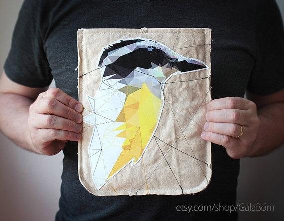 Tablet Hülle mit Vogelmotiv aus Baumwolle – gelb