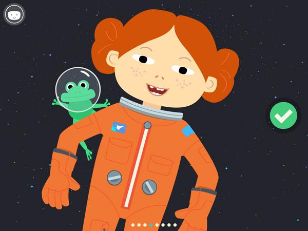 Kinder Lernapp über das Universum und Technik