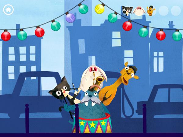 Kinder Musik App mit handgemalten Illustrationen