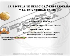Diploma Certificado por la Universidad CEUSS