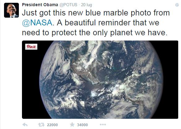 """Un tweet di Obama: """"Dobbiamo difendere l'unico pianeta che abbiamo"""""""