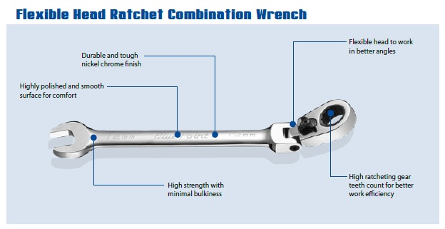 BLUE POINT - FLEXIBLE HEAD RATCHET COMBINATION WRENCH