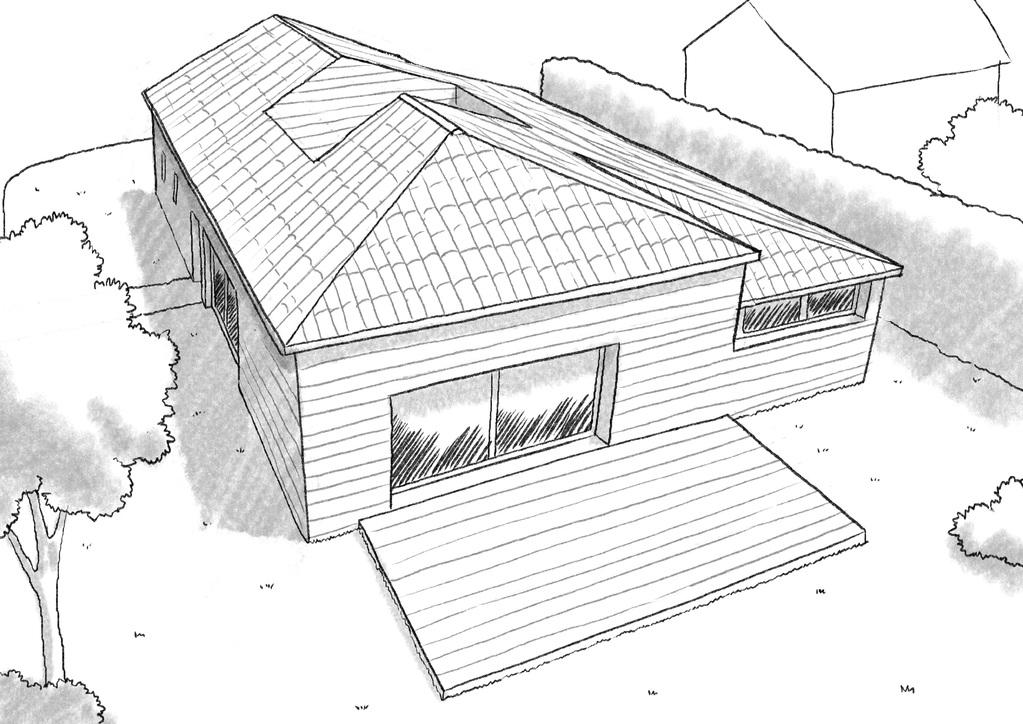 plan maison bois avec patio