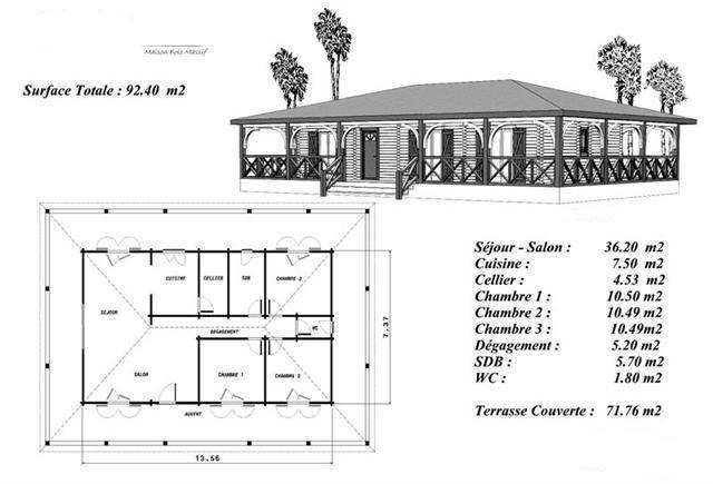 plan maison bois coloniale