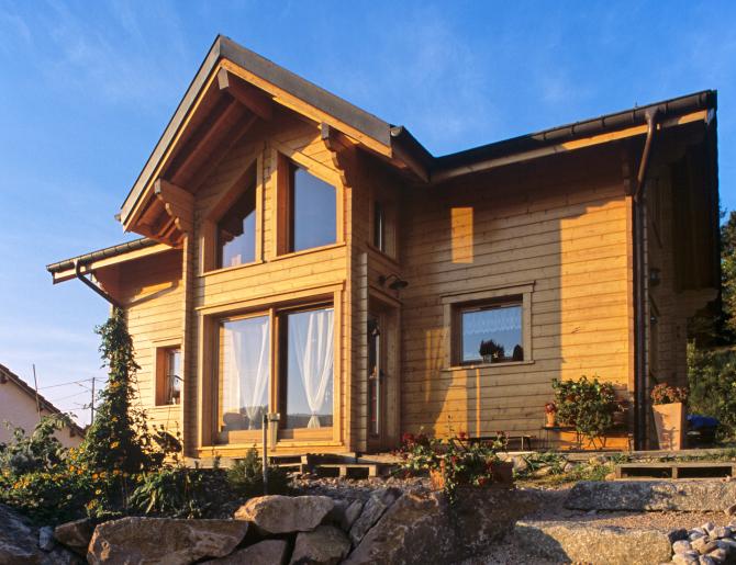 plan maison bois etage