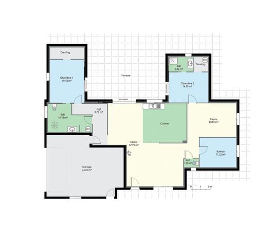 plan maison bois plain pied