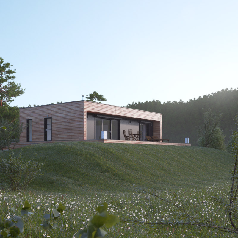 plan maison cube bois