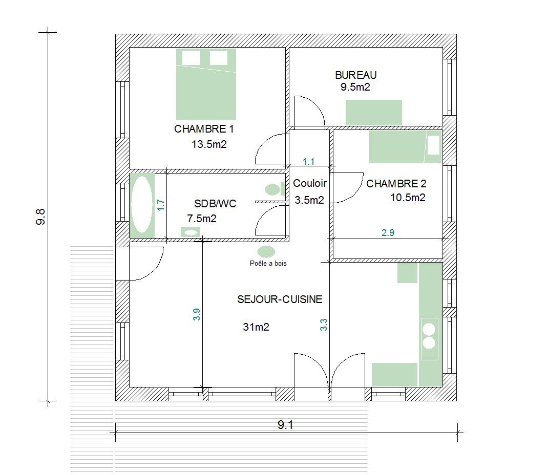 Plan maison bois 80m2 la biomasse notre energie for Maison bois 80m2